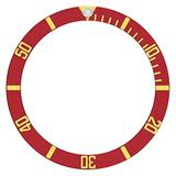 Bezel Insert Compatible with Submaringer Plastic Model 5508, 5512, 5513 Watch Red Gold Font