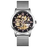 TONSHEN Watches for Men Fashion Square Stainless Steel Dial Analog Mechanical Watch with Band (Silver)