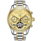 LOREO Mens Gold Automatic Watches Tourbillon Silver Stainless Steel Bracelet Sapphire Glass Blue Dial Date Waterproof Business Watch (Steel Bracelet/Gold dial)