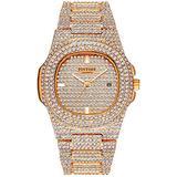 Men's Diamond Rose Gold Watches Costume Hip Hop Bling Three Dual Rhinestone Bezel Dress Watches for Men and Women Luxury Unisex Wrist Watch