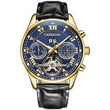 Luxury Mens Leather Watches Automatic Tourbillon Blakc Strap Sapphire Glass Blue Dial Date Waterproof Gold Business Watch (Leather Strap/Blue Dial)
