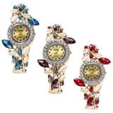 NICERIO Women Luxury Watch - 3PCS Wholesale Wrist Watch, Leaf Design Watch Elegant Quartz Watch Wrist Time Displayer Rhinestone Watches for Women Lady