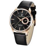 Men's Watches Casual Leather Quartz Wrist Watch for Men Waterproof Business Dress Unique PAGANI DESIGN Watches Seiko Movement (Gold Black 1654)