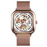TONSHEN Mens Fashion Square Stainless Steel Dial Analog Mechanical Watch with Band (Rose)