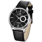 Men's Watches Casual Leather Quartz Wrist Watch for Men Waterproof Business Dress Unique PAGANI DESIGN Watches Seiko Movement (Black 1654)