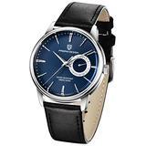 Men's Watches Casual Leather Quartz Wrist Watch for Men Waterproof Business Dress Unique PAGANI DESIGN Watches Seiko Movement (Blue 1654)