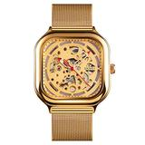 TONSHEN Mens Fashion Square Stainless Steel Dial Analog Mechanical Watch with Band (Gold)
