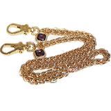 2-purple Gemstone Twist Gold Metal Purse Chain Strap for Shoulder Cross Body Sling Purse Handbag Clutch Replacement (length 39 inch)
