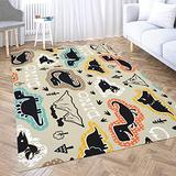 Vintage Area Rug,Shorping 3X5 Flower Door Area Rugs Modern Pattern with Dinosaurs Silhouette Cartoon Space Area Rug Rugs for Living Room Large Area Rugs Area Rug for Kids