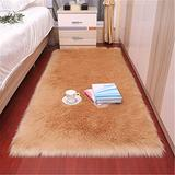 Long Hair Faux Fur Sheepskin Rug Chair Cover Seat Pad Sofa Cover Hairy Washable Carpet Non Slip Mats for Bedroom Sofa Floor,Camel 2ft x 3ft