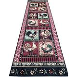 Rustic Lodge French Country Rooster Slice Accent Chicken Area Rug - Decor for Kitchen (2' X 7' Runner)