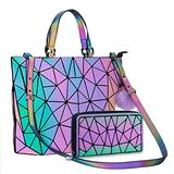 Geometric Handbag Luminous Women Tote Bag Holographich Purses and Handbags Flash Reflactive Crossbody Bag for Women (Small handbag with purse)