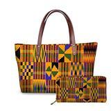 Coloranimal Women Large Shoulder Handbag African Abstract Print Long Purse PU Leather Wallet Set Gift