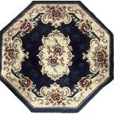 emirates Classic Aubusson Traditional Octagon Aubusson Floral Oriental Persian Rug Dark Blue Beige & Red Design 507 (7 Feet 9 Inch X 7 Feet 9 Inch)