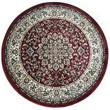 Traditional Burgundy Green Black Beige Persian Round Area Rug 330,000 Point Design 603 (5 feet 3 inch X 5 feet 3 inch Round)
