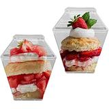 Disposable Plastic Mini Cups with Lids 288 Pcs - 2.25 oz Clear Ice Cream Containers - Square Cups for Appetizers, Fruit, Desserts - Bulk Party Catering Supplies for Wedding, Birthday & All Occasions