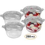 Disposable Plastic Mini Cups with Lids 288 Pcs - 3.4oz Clear Ice Cream Containers - Small Sampler Cup for Appetizer, Fruit, Dessert - Bulk Party Catering Supplies for Wedding, Birthday & All Occasions