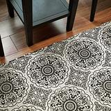 MOTINI Runner Rug, Hand Woven Cotton Area Rug with Tassels, Black and White Print Floral Accent Rug for Living Room, Bedroom, Doorway, Hallway, Entry 2.3'x8'