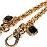 2-Black Gemstone Twist Gold Metal Purse Chain Strap for Shoulder Cross Body Sling Purse Handbag Clutch Replacement (length 23 inch)