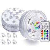 KJOY 2Pcs Submersible LED Lights with RF Remote, Magnets, Suction Cups, Battery Operated IP68 Waterproof Underwater Lights, 13LED 16 Color Changing Pond Lights for Inground Aquarium Fountain Vase