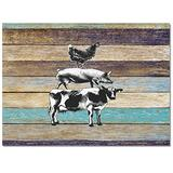 Large Area Rugs 4' x 6' Throw Carpet Floor Cover Nursery Rugs For Children/Kids, Country Plank American Rural Farm Animals Cow Pig and Rooster Modern Kitchen Mat Runner Rugs For Living Room/Bedroom