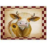 Large Area Rugs 2' x 3' Throw Carpet Floor Cover Nursery Rugs For Children/Kids, Red Vintage Checkered Farm Animal Cow Biting Blooming Sunflower Modern Kitchen Mat Runner Rugs For Living Room/Bedroom