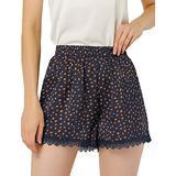 Allegra K Women's Shorts Allover Floral Printed Lace Trim Hem Elastic Waist Navy Blue-Dots L