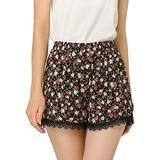 Allegra K Women's Shorts Allover Floral Printed Lace Trim Hem Elastic Waist XL Black-Rose