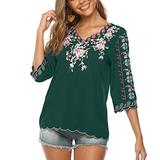 Mansy Women's Embroidery Mexican Bohemian Shirt Short Sleeve Ruffled Peasant Tops Tunic Blouses