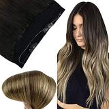 Fshine Hidden Hair Crown Clip in Real Hair Extensions 14Inch Invisible Human Hair Extensions Layered Wire Hair Extensions Balayage Natural Black to Brown and Blonde 70G Headband Human Hair for Women
