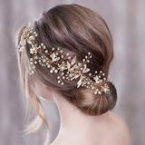 Azaleas Rose Gold Wedding Hair Piece Flower Crystal Headband Wedding Hair Clip Bridal Pearl Hair Vine(HP294)