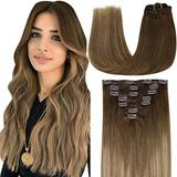LaaVoo Human Hair Clip in Extensions 18 Inch Clip in Hair Extensions Human Hair Ombre Medium Brown to Light Brown Mixed Blonde Clip in Human Hair Extensions Remy Invisible Clip Extensions 7Pcs 120g