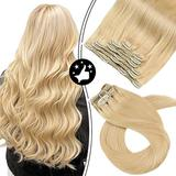 Moresoo Real Hair Extensions Clip in Human Hair Clip in Human Hair Extensions 18 Inch Real Hair Clip in Hair Extensions Color #24 Light Blonde Lace Weft Clip in Full Head Hair Extensions 7PCS 100G
