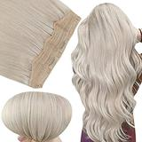Fshine Halo Hair Extensions Natural Human Hair Piece with Clips 16 Inch Invisible Halo Wire Hair Extensions Hidden Clip Crown Lightest Blonde 80G One Piece Wire Hair Extensions Real Human Hair