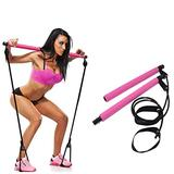 air-SMART Portable Pilates Bar Kit with Resistance Band Exercise Stick,Home Gym Pilates Yoga Exercise Bar with Foot Loop for Total Body Workout (Purple, one Size)