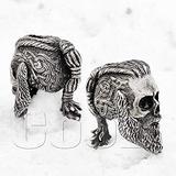 CooB EDC Paracord Bead Beads Ragnar Lothbrok Skull Charm Pendant DIY Hand-Casted Paracord Beads Charms for Bracelet Knife Lanyard 1pcs/Lot (Ragnar Skull Silver)