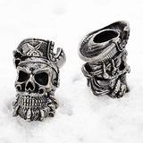 CooB EDC Paracord Bead Beads Charm Pendant DIY Hand-Casted Beads Charms for Paracord Bracelet Knife Lanyard Zombie Pirate Blackbeard Skull Joker Bead (1pcs/Lot) (Blackbeard Skull Silver)