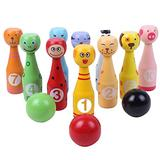 Nuxn Kids Bowling Set Wooden Animal Bowling Game Children Skittles Ball Game with 10 Pins 3 Balls Indoor Outdoor Sport Games Party Bowls Family Games Educational Toys