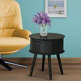 East West Furniture GONE11 one Piece Gorgeous Gordon Round Table Night Stand with Drawer, 1-Pack, in Black Finish