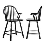 """Sunset Trading 24"""" Counter Height Windsor Arm Stool   Antique Black   Set of 2, Antique Black with Cherry Rub"""