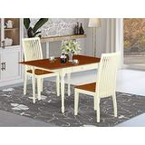 East West Furniture Dining Table Set, Buttermilk and Cherry