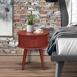 East West Furniture GONE13 One Piece Wonderful Gordon Round Table Night Stand with Drawer, 1-Pack, in Burhundy Finish