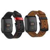 Fitbit Versa Leather Band for Men Women Vintage Leather Band Replacement Compatible with Fitbit Versa 2 / Versa/Versa Lite Durable Versa Sport Strap for Men Women