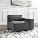 Modway Upholstered Fabric Right-Arm Sectional Sofa Chair in Charcoal