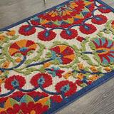 """Nourison Aloha Indoor/Outdoor Floral Red/Multi 3' x 4' Area Rug , 2'8"""" x 4'"""