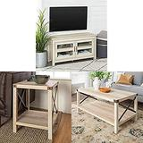 Walker Edison Furniture Simple Wood Universal Stand for TV with Square Side Accent Small End Table, 18 Inch, White Oak and Rectangle Accent Coffee Table Living Room Ottoman Storage Shelf, White Oak