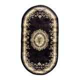 Traditional Oval Oriental Aubusson Floral Area Rug Persian Black Burgundy Green Beige Design 602 (31 Inch X 4 Feet 11 Inch)