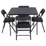 EventStable Titan Series Folding Card Table and Metal Folding Chair Set - 5 Pieces (Navy Blue Fabric)