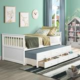Danxee Wood Bed Captain's Bed Storage Twin Daybed with Trundle Bed and Storage Drawers Platform Bed Kids Bed (Ivory White)