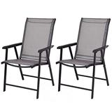 Giantex Set of 2 Patio Dining Chairs, Outdoor Chairs, Portable Folding Chairs for Camping Pool Beach Deck, Lawn Chair with Armrest, 2-Pack Patio Chairs, Metal Frame, Grey